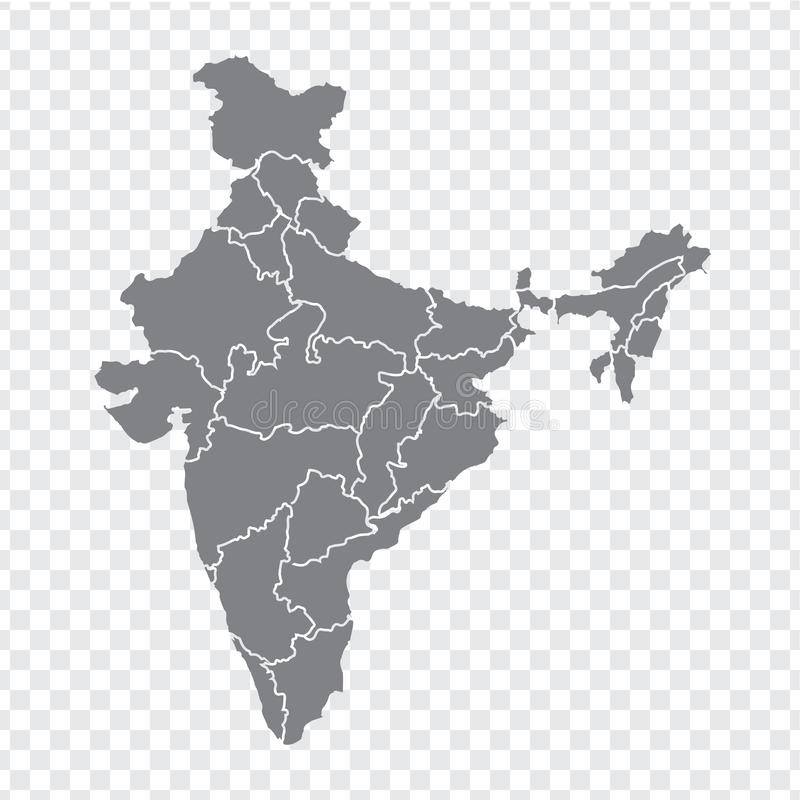 Blank map India. High quality map India with provinces on transparent background for your web site design, logo, app, UI. Stock vector. Vector illustration vector illustration