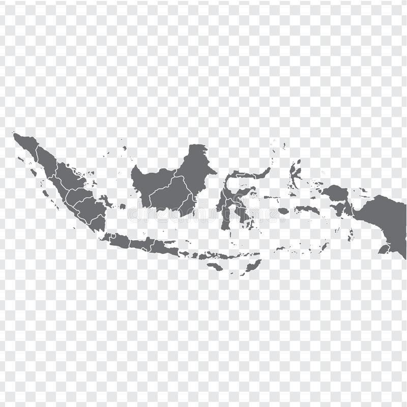 Blank map Indonesia. High quality map Indonesia with provinces on transparent background for your web site design, logo, app, UI. Stock vector. Vector royalty free illustration