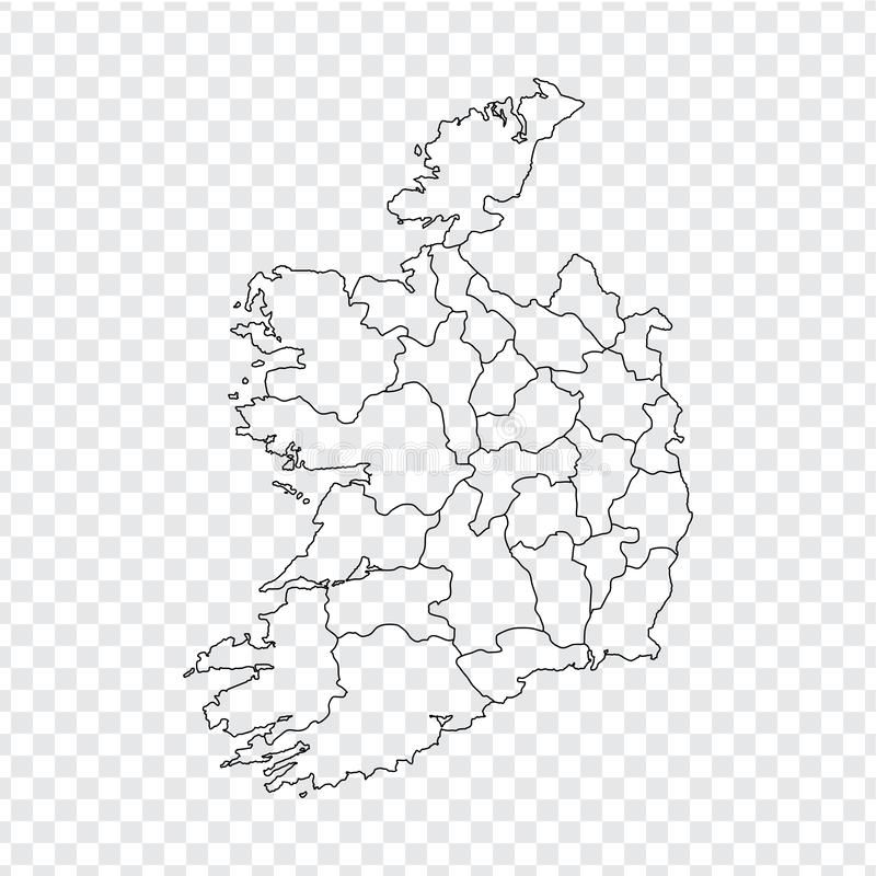 Blank map Ireland. High quality map Ireland with provinces on transparent background for your web site design, logo, app, UI. Stock vector. Vector illustration stock illustration