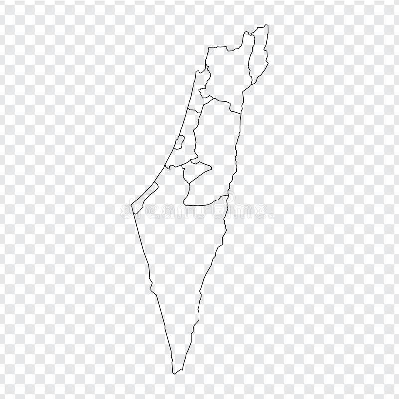 Blank map Israel. High quality map of Israel with provinces on transparent background for your web site design, logo, app, UI. Stock vector. Vector stock illustration
