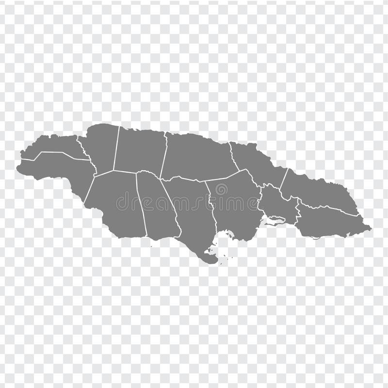 Blank map Jamaica. High quality map of  Jamaica with provinces on transparent background for your web site design, logo, app, UI. Stock vector. Vector stock illustration