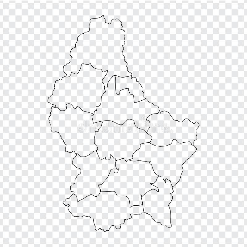 Blank map Luxembourg. High quality map Luxembourg with provinces on transparent background for your web site design, logo, app, UI. Stock vector. Vector royalty free illustration