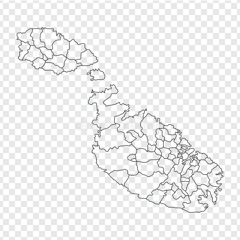 Blank map  Malta. High quality map of  Malta with provinces on transparent background for your web site design, logo, app, UI. Sto. Ck vector. Vector royalty free illustration