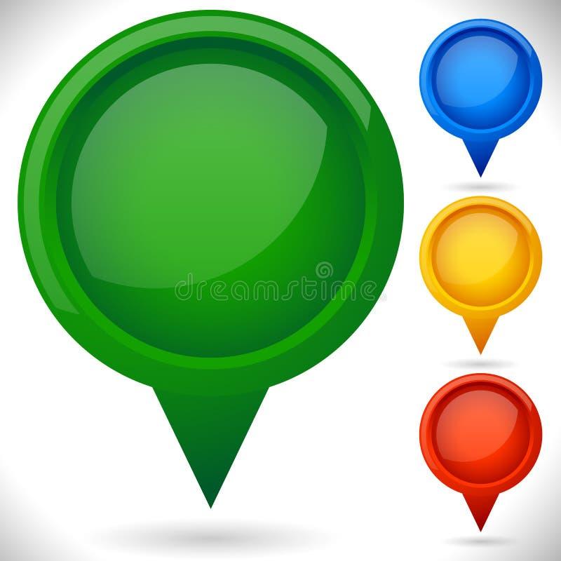 Blank Map marker, map pin set. Location, destination, pinpointin royalty free illustration