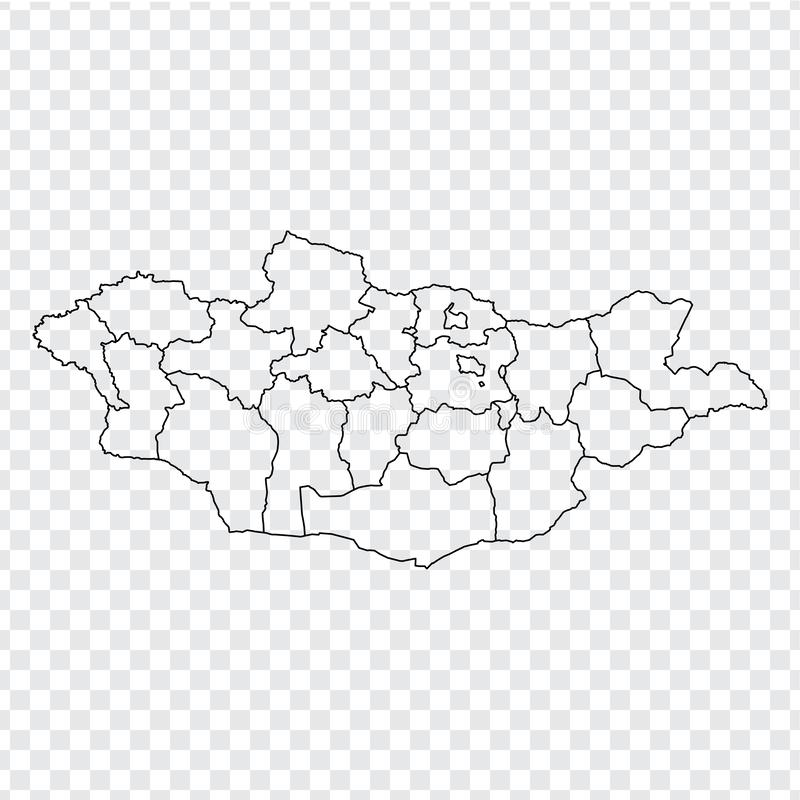 Blank map Mongolia. High quality map Mongolia with provinces on transparent background for your web site design, logo, app, UI. Stock vector. Vector royalty free illustration