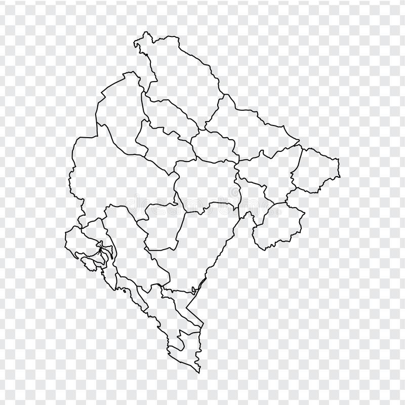 Blank map Montenegro. High quality map of  Montenegro with provinces on transparent background for your web site design, logo, app. UI. Stock vector. Vector royalty free illustration