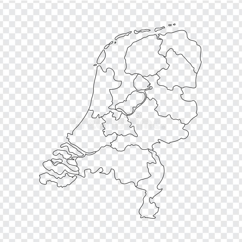 Blank map Netherlands. High quality map Kingdom of Netherlands with provinces on transparent background for your web site design,. Logo, app, UI. Stock vector royalty free illustration