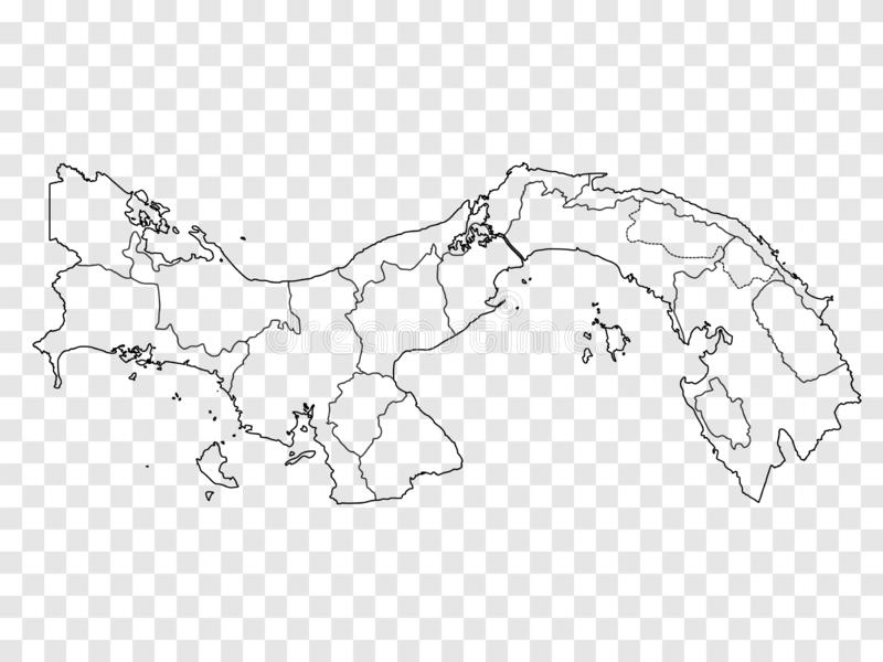 Blank map Panama. High quality map of Panama with provinces on transparent background for your web site design, logo, app, UI. Stock vector. Vector stock illustration