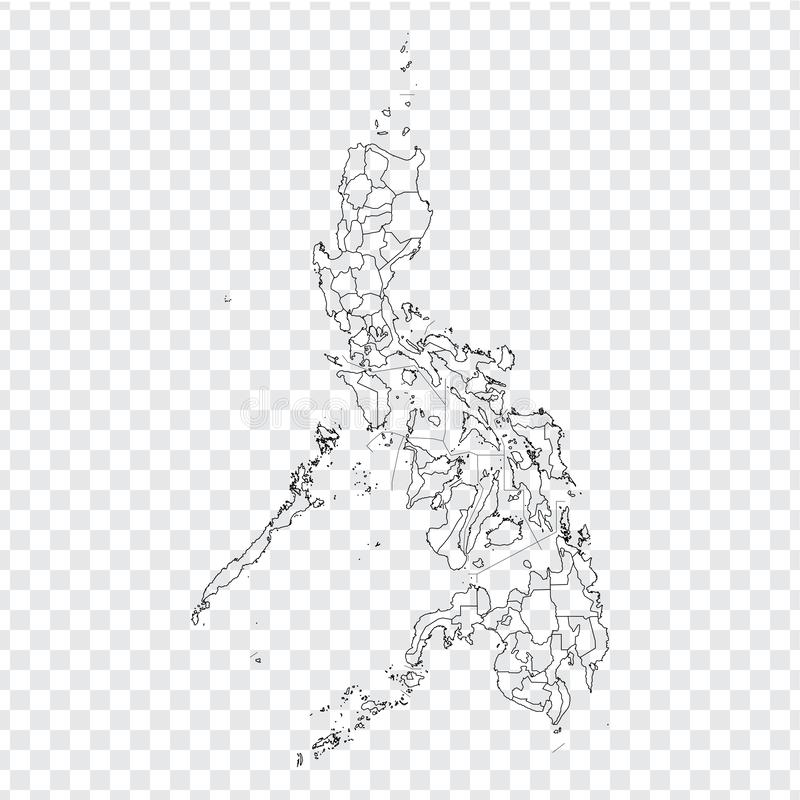 Blank map Philippines. High quality map of  Philippines with provinces on transparent background for your web site design, logo, a. Pp, UI. Stock vector. Vector royalty free illustration