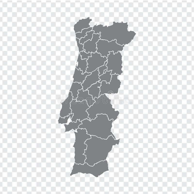 Blank map Portugal. High quality map Portugal with provinces on transparent background for your web site design, logo, app, UI. Stock vector. Vector royalty free illustration