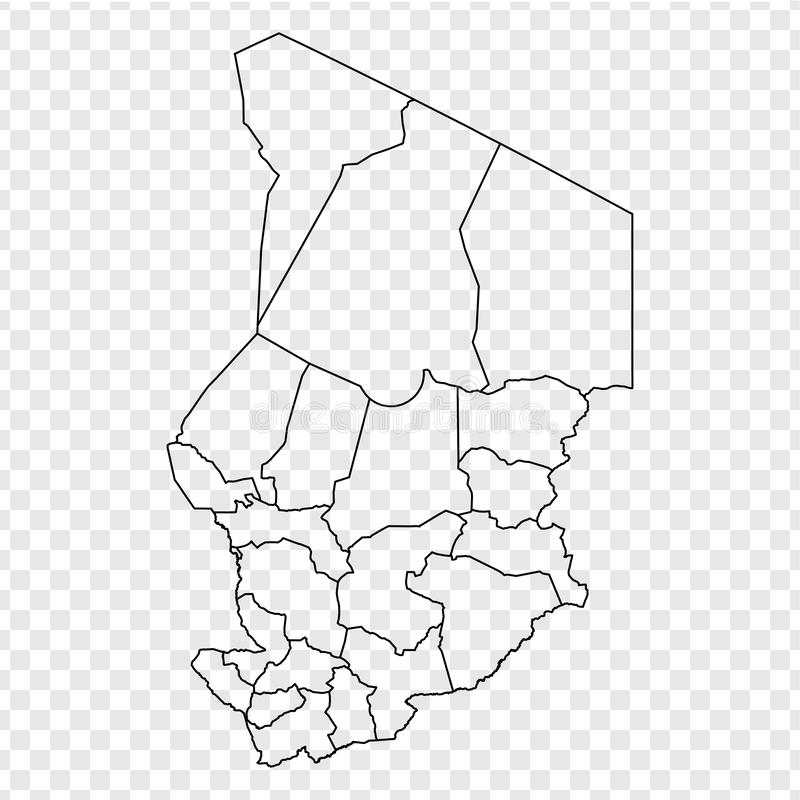 Blank map Republic of Chad. High quality map of  Chad with provinces on transparent background for your web site design, logo, app. UI.  Africa. EPS10 vector illustration