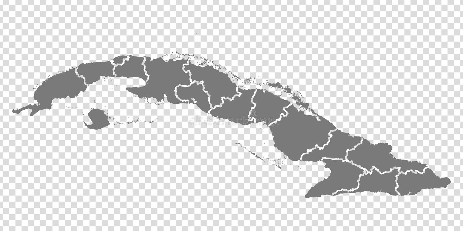 Blank map Republic of Cuba. High quality map of  Cuba with provinces on transparent background for your web site design, logo, app. UI.  America. EPS10 vector illustration