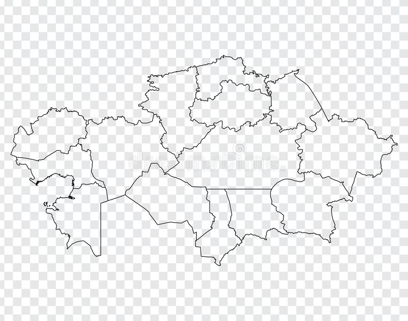 Blank map Republic of Kazakhstan. High quality map of Kazakhstan  with provinces on transparent background for your web site desig. N, logo, app, UI. EPS10 royalty free illustration