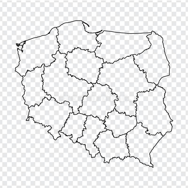 Blank map Republic of Poland. High quality map of  Poland with provinces on transparent background for your web site design, logo,. App, UI. Stock vector stock illustration