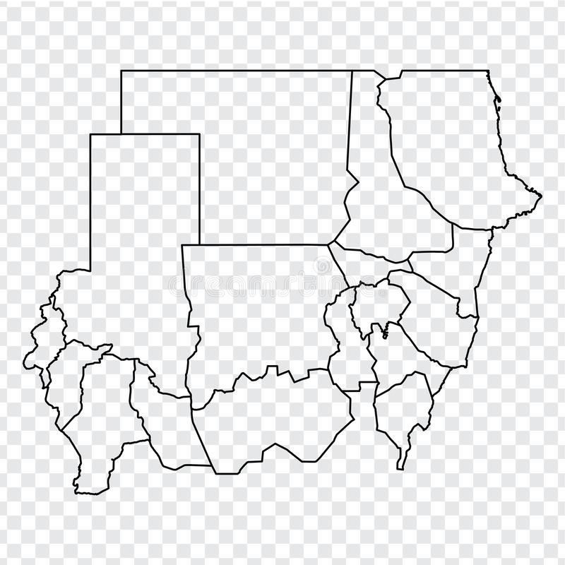 Blank map Republic of Sudan. High quality map of  Sudan with provinces on transparent background for your web site design, logo, a. Pp, UI.  Africa. EPS10 stock illustration
