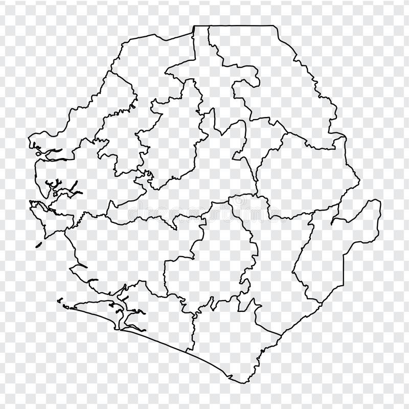 Blank map Sierra Leone. High quality map Republic of Sierra Leone with provinces on transparent background for your web site desig. N, logo, app, UI. Stock stock illustration