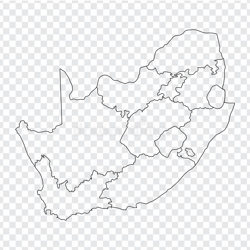 Blank map South Africa. High quality map of South Africa with the provinces on transparent background. stock image