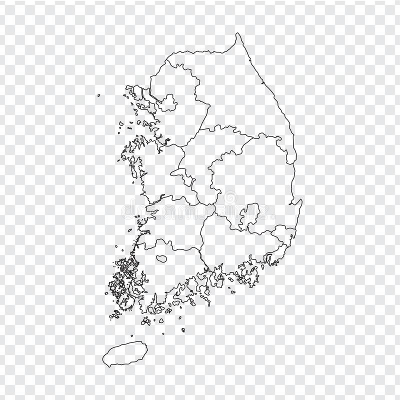 Blank map South Korea. High quality map of South Korea with the provinces on transparent background for your web site design, lo. Go, app, UI. Stock vector royalty free illustration