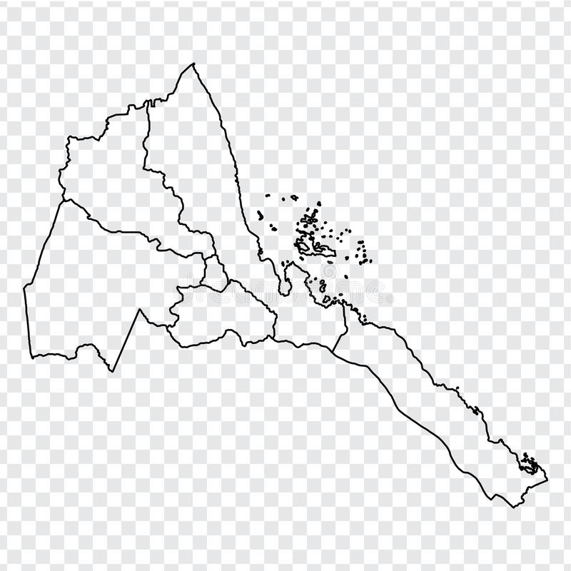 Blank map State of Eritrea. High quality map of  Eritrea with provinces on transparent background for your web site design, logo,. App, UI.  Africa. EPS10 vector illustration