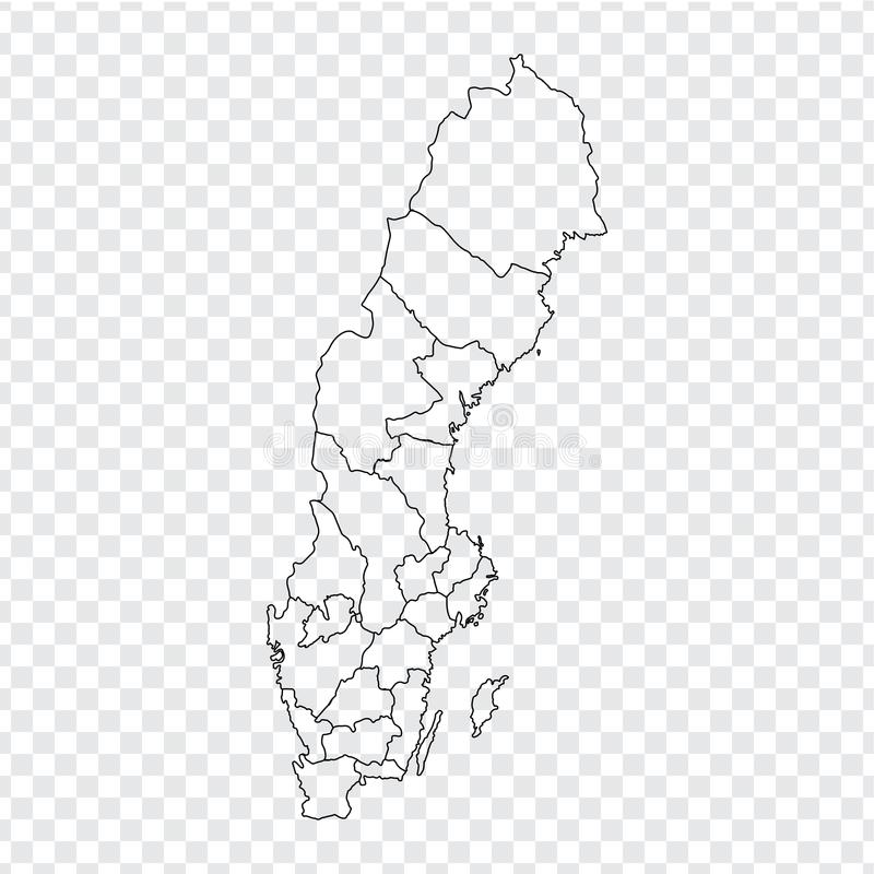 Blank map Sweden. High quality map of Sweden with provinces on transparent background for your web site design, logo, app, UI. Stock vector. Vector vector illustration