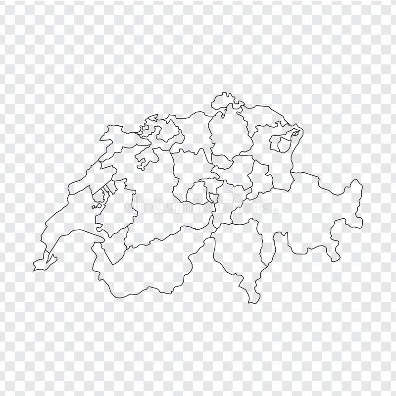Blank map Switzerland. High quality map Switzerland with provinces on transparent background for your web site design, logo, app,. UI. Stock vector. Vector stock illustration