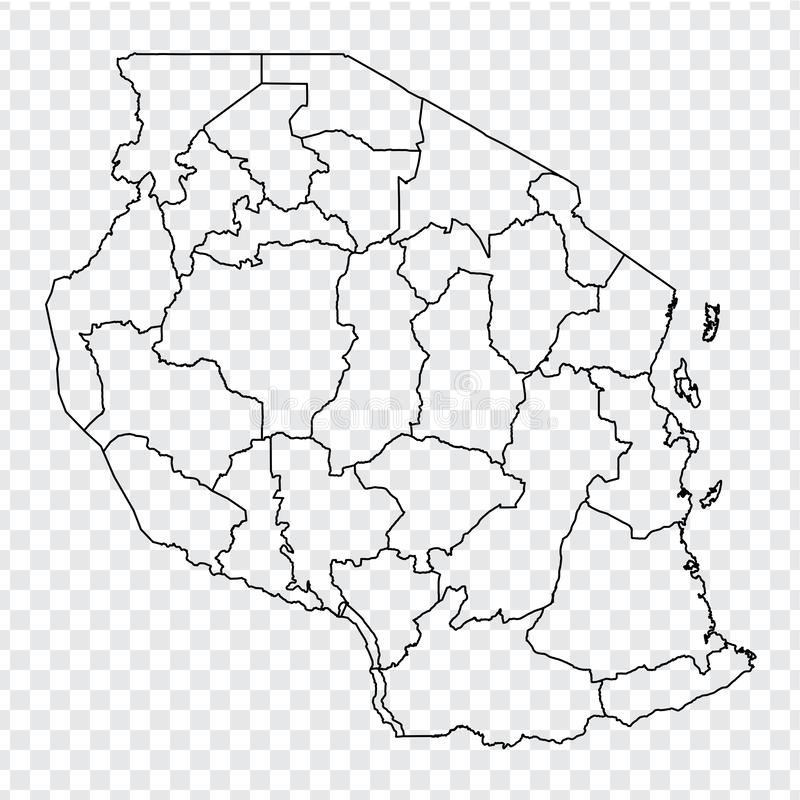 Blank map Tanzania. High quality map of  Tanzania with provinces on transparent background for your web site design, logo, app, UI. Stock vector.  EPS10 royalty free illustration