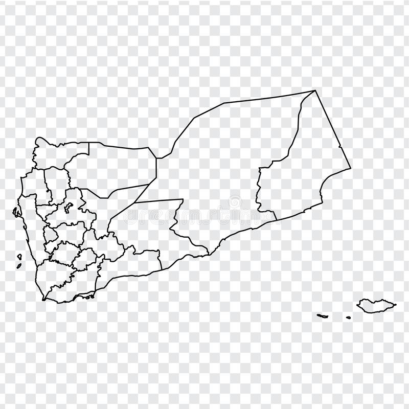 Blank map of Yemen Republic. High quality map of  Yemen with provinces on transparent background for your web site design, logo, a royalty free stock image