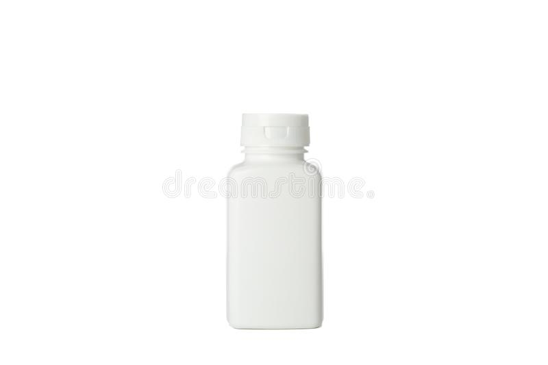 Blank medical container for pills isolated on white stock photo