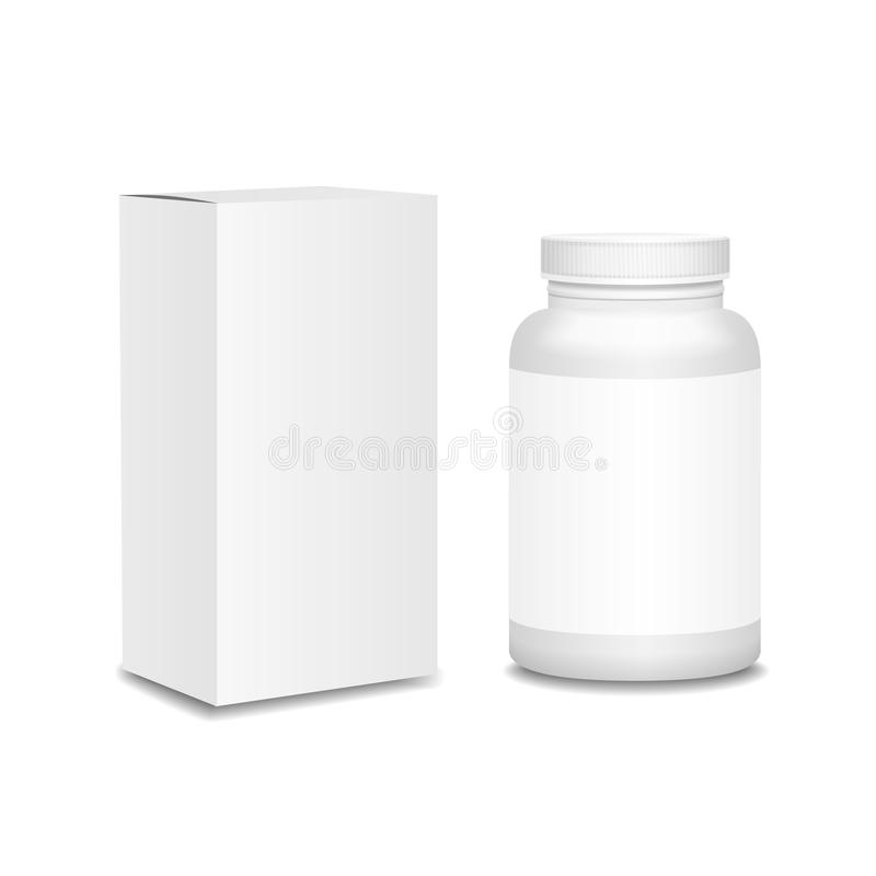 Free Blank Medicine Bottle With Box Realistic Isolated Royalty Free Stock Photography - 55292257