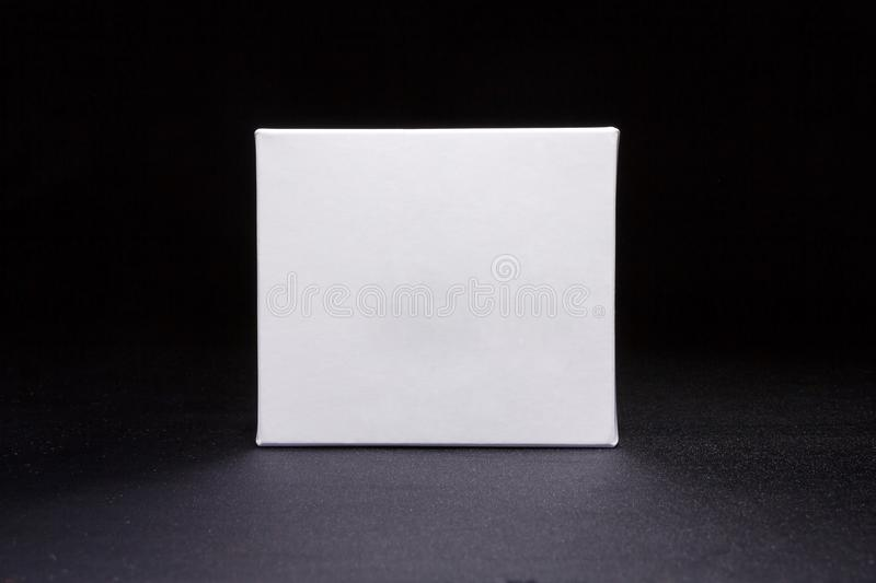 Blank medium size medicine from white paper packaging box stock photo