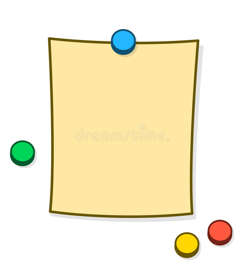 Blank Memo Or Note With Thumb Tacks Or Magnets Stock Vector