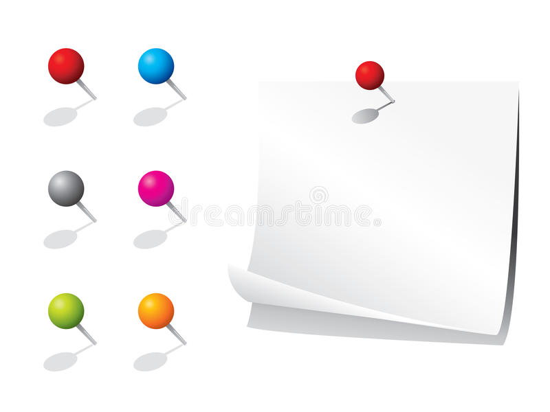 Download Blank memo paper and pins stock vector. Image of plastic - 12837824
