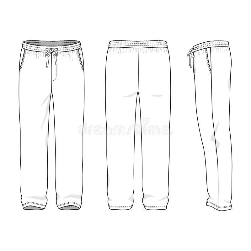 Blank men's sweatpants royalty free illustration