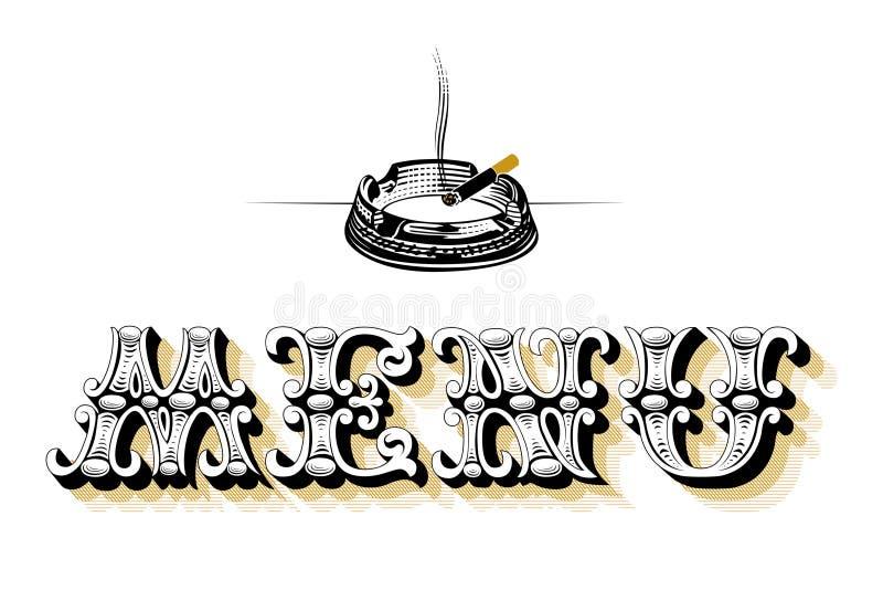 blank meny för askfat stock illustrationer