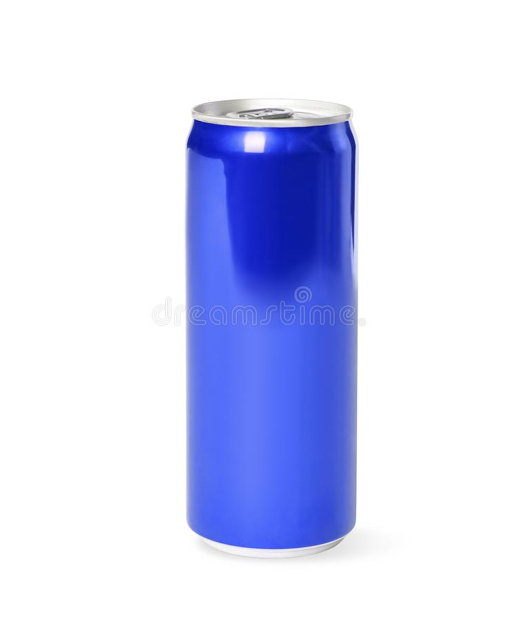 Blank metal blue can on white background. royalty free stock photos