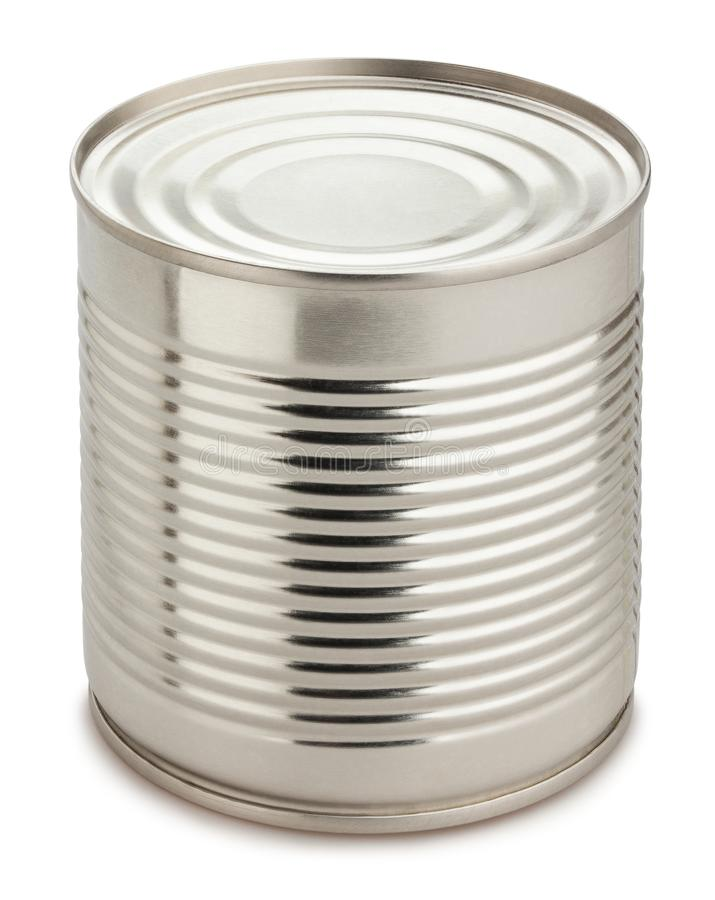 Blank metal food can. Path isolated royalty free stock images