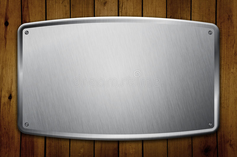 Blank Metal Frame on Wooden Wall royalty free stock photos