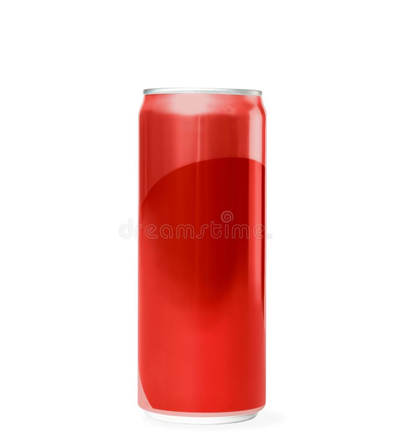 Blank metal red can on white. Mock up for design stock photos