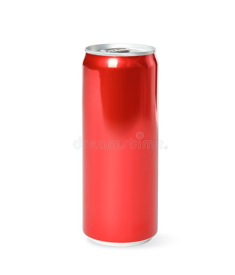 Blank metal red can on white background. Mock up for design royalty free stock images