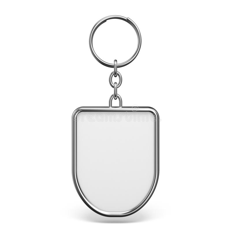 Blank metal trinket with a ring for a key shield shape 3D stock images