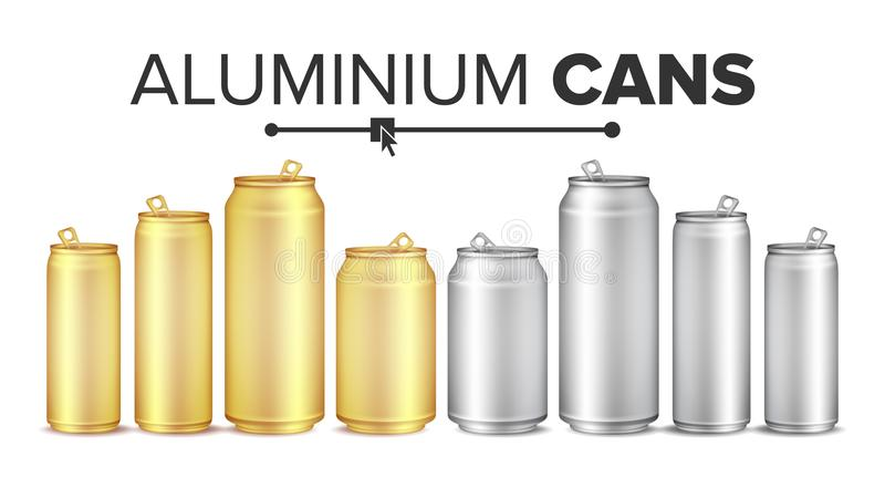 Blank Metallic Cans Set Vector. Empty Layout For Your Design. Energy Drink, Juice, Water Etc. Isolated Illustration. Blank Metallic Cans Set Vector. Empty Layout stock illustration