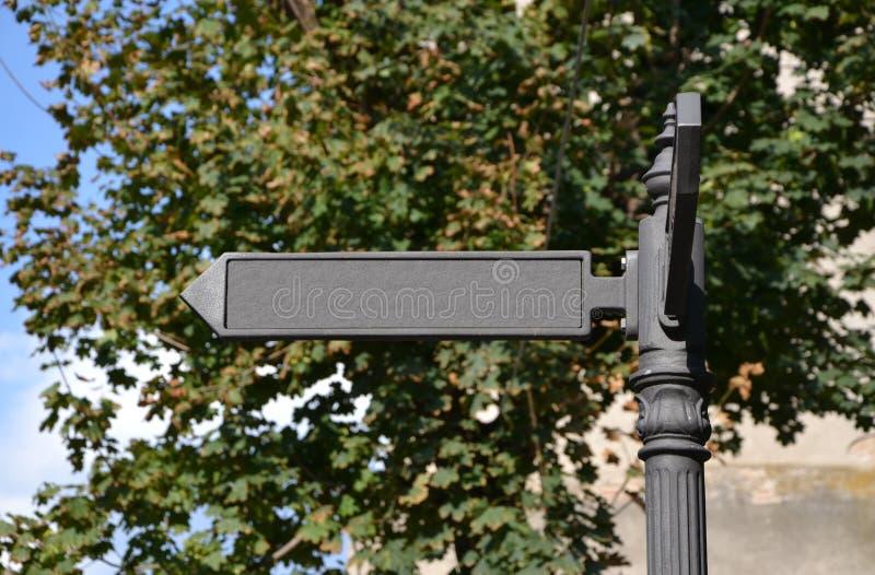 Blank metallic street sign stock photo
