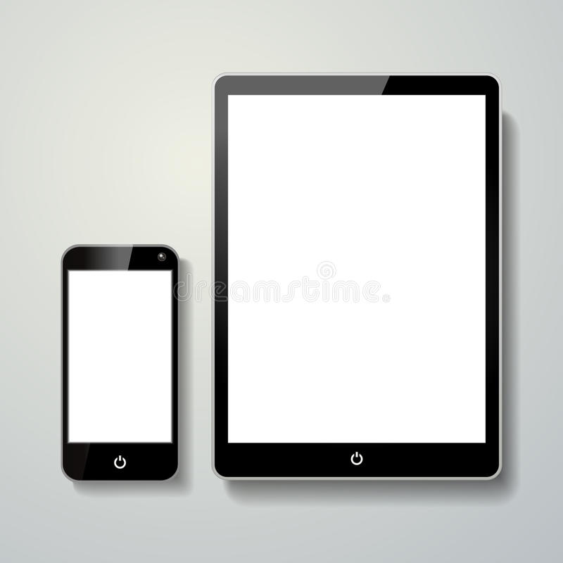 Blank mobile phone and touch pad stock illustration