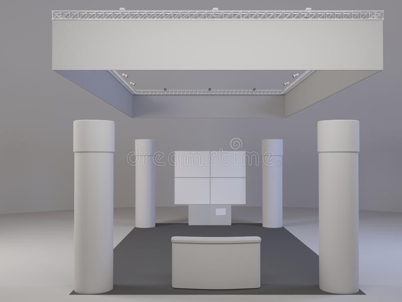 Blank mock up creative exhibition stand design with shapes. Booth template, royalty free illustration