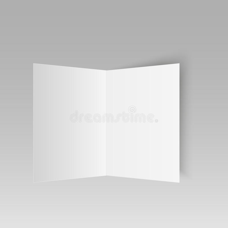 Blank mock up invitation greetings card isolated on white background. Vector vector illustration
