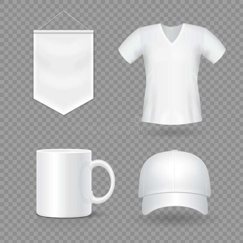 Blank mock-up promotional gifts. Realistic 3d cap, mug, t-shirt and flag.  royalty free illustration