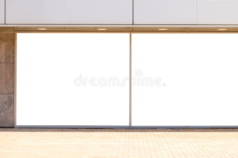 Blank mock up of store street showcase window outdoors stock images
