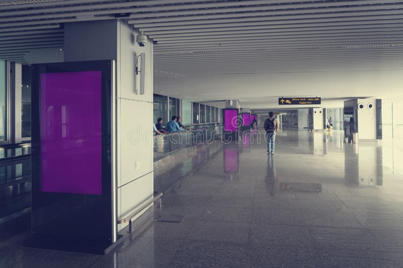 Blank mock up of vertical street poster billboard on Airport Background stock image
