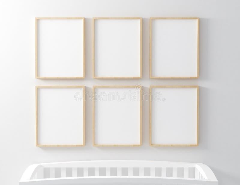 Blank Frame Nursery Mockup with baby cot. Blank mockup with baby cot royalty free stock image
