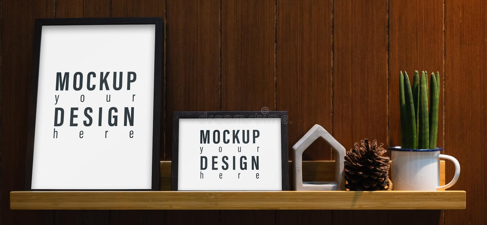 Blank mockup frame on wall shelf. Mock up blank white picture frame on wooden shelf in the living room stock images